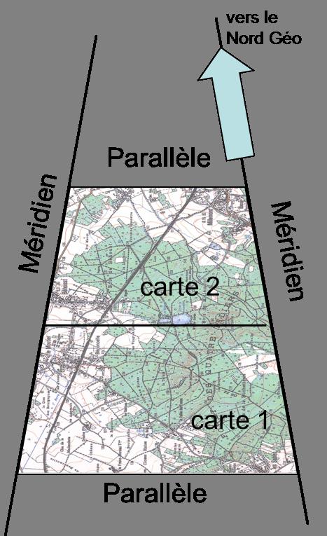les cartes ('sérieuses)  sont généralement délimitées par des parallèles et des méridiens