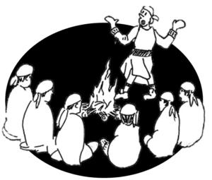 les scouts chante et se réjouissent ensemble le soir car ils sont heureux, frères sur la terre et frères dans le Christ.